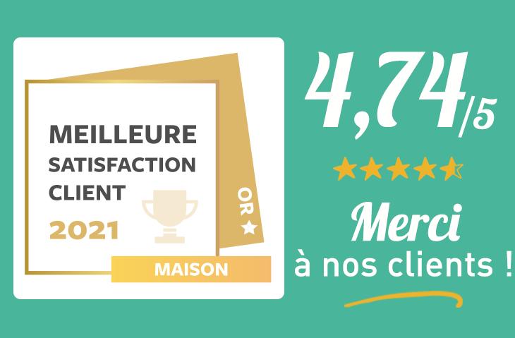 Prix d'or de la Meilleure satisfaction client 2021 !