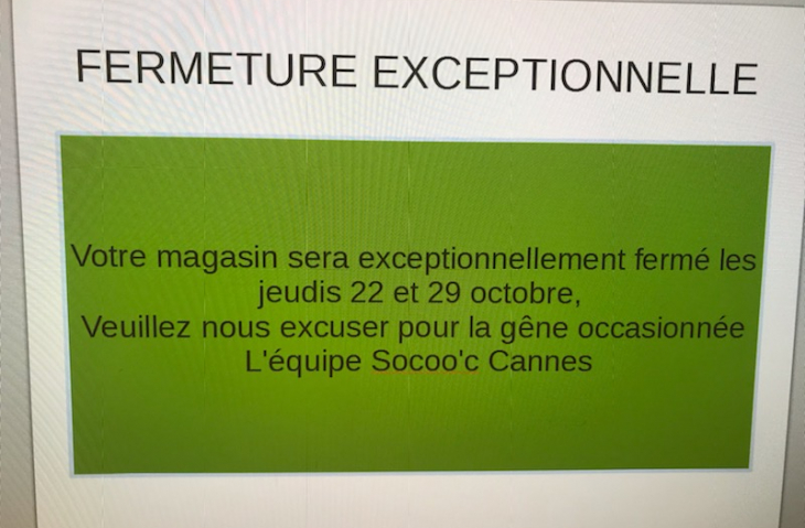 Fermeture excpetionnelle