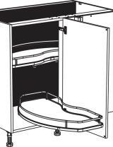 Meuble bas d'angle 1 porte et 2 étagères tournantes sortie totale