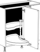 Meuble bas d'angle 1 porte et 2 étagères tournantes