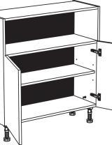 Meuble bas avec niche hauteur utile 26 cm - 2 portes - 1 étagère réglable