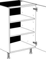 Meuble bas 1 porte et 2 étagères réglables