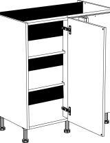 Meuble bas d'angle 1 porte et 2 étagères réglables