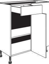Meuble bas d'angle 1 tiroir, 1 porte et 1 étagère réglable