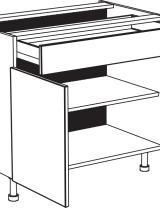 Meuble bas, 1 tiroir, 2 portes et 1 étagère réglable