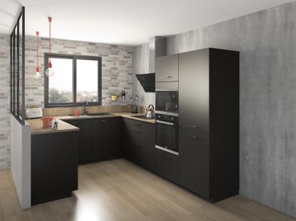 Cuisine noire et bois ambiance industrielle en U