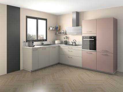 Cuisine rose pastel en L