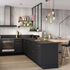 Cuisine noire et bois ambiance industrielle