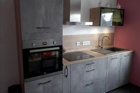 La cuisine effet béton de Sébastien et Mélissa, une cuisine réalisée par SoCoo'c Maubeuge