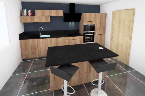 Cuisine en bois et mur bleu nuit, une cuisine réalisée par SoCoo'c Gap