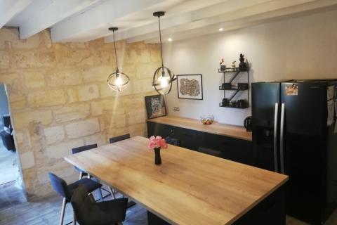 Cuisine noir mat et chêne de fil, une cuisine réalisée par SoCoo'c Libourne