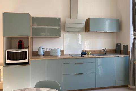 Cuisine linéaire vert pastel et bois de Mme V., une cuisine réalisée par SoCoo'c Tarbes