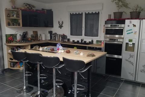 cuisine noire et bois, une cuisine réalisée par SoCoo'c Rouen Tourville