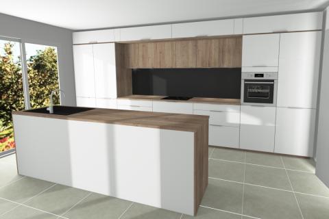Cuisine blanche et bois de la famille B. avec Mégane, une cuisine réalisée par SoCoo'c Plan de Campagne