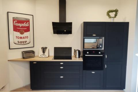 Cuisine ambiance Bistro noire et bois, une cuisine réalisée par SoCoo'c Douai