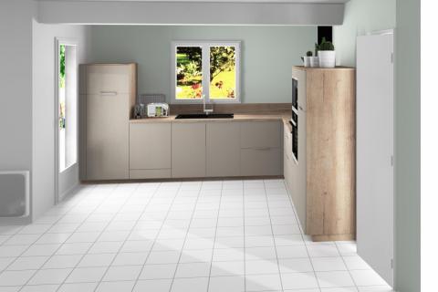 Douce harmonie chamois et bois , une cuisine réalisée par SoCoo'c Seclin