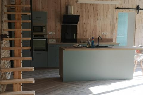 Cuisine moderne avec Ilot à Ounans (Jura), une cuisine réalisée par SoCoo'c Dole