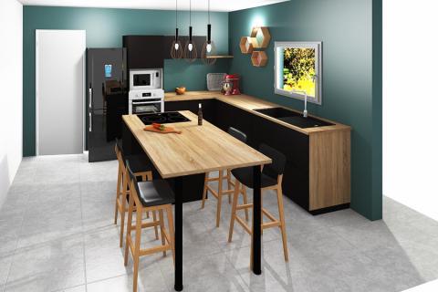 Chaleur du bois et noir classieux, une cuisine réalisée par SoCoo'c Seclin