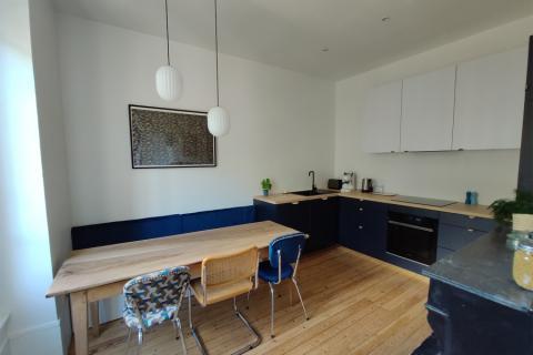Cuisine bleue et bois, une cuisine réalisée par SoCoo'c Lyon Limonest