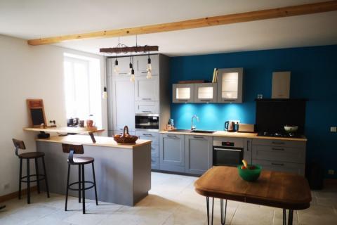Cuisine Pila grise et bois, une cuisine réalisée par SoCoo'c Nantes Basse Goulaine