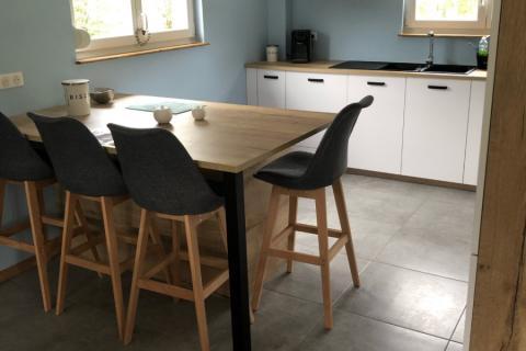 Cuisine blanc mat et chêne vintage , une cuisine réalisée par SoCoo'c Mulhouse Wittenheim