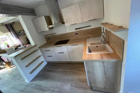 Cuisine cimento et bois, une cuisine réalisée par SoCoo'c Avranches