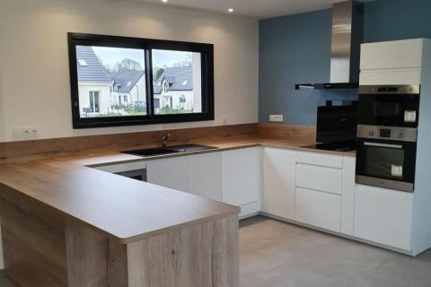 cuisine blanche et bois, une cuisine réalisée par SoCoo'c Rouen Tourville