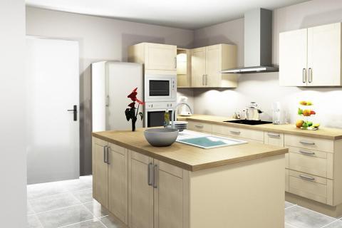 Modèle Balm - cuisine ouverte avec îlot, une cuisine réalisée par SoCoo'c Rennes Melesse