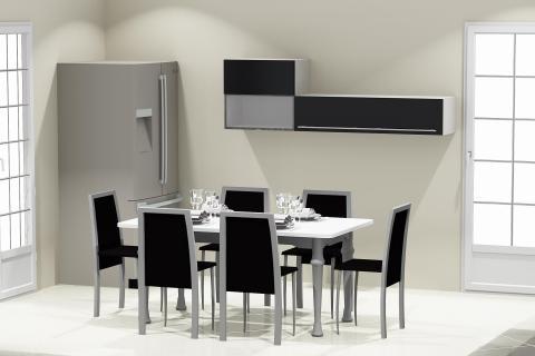 La cuisine grise de Samira et Taoufiq, une cuisine réalisée par SoCoo'c Troyes