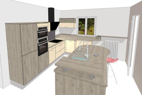 Une cuisine avec îlot, une cuisine réalisée par SoCoo'c Orléans Saran