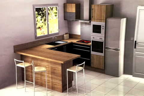 Cuisine moderne bois et satiné, une cuisine réalisée par SoCoo'c Orléans Saran
